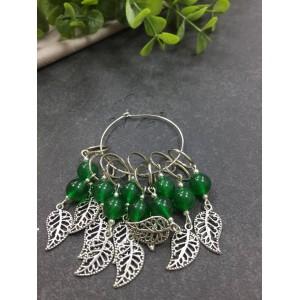 Маркеры дизайнерские зеленые с ажурным листиком