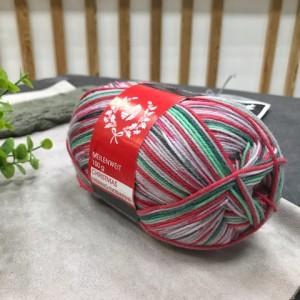 Пряжа Lana Grossa Meilenweit Merino Extrafine Christmas 6760 (серый-красный-зеленый)