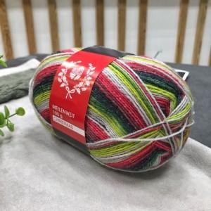 Пряжа Lana Grossa Meilenweit Christmas Lurex 6761 (красный-зеленый-серый)